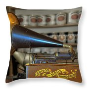 Edison Home Phonograph With Morning Glory Horn Throw Pillow