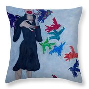 Edith Piaf  The Little Sparrow Throw Pillow