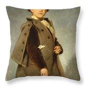 Edmond Dehodencq Wearing An Inverness Cape Throw Pillow