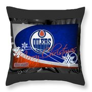 Edmonton Oilers Christmas Throw Pillow