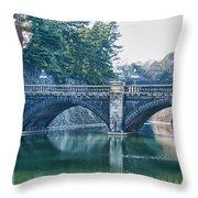 Edo Castle And Nijubashi Bridge Throw Pillow
