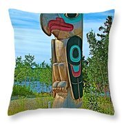 Edward Smarch Totem Pole At Teslin Tlingit Heritage Memorial Center In Teslin-yt Throw Pillow
