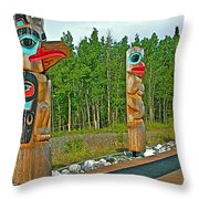 Edward Smarch Totem Poles At Teslin Tlingit Heritage Memorial Center In Teslin-yt Throw Pillow