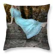 Edwardian Girl On A Stone Wall Throw Pillow