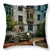 Edwardian Lady By Car Throw Pillow
