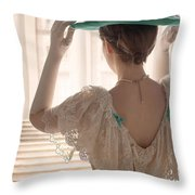 Edwardian Woman Adjusting Her Hat  Throw Pillow
