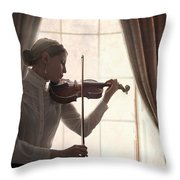 Edwardian Woman Playing Violin At The Window Throw Pillow