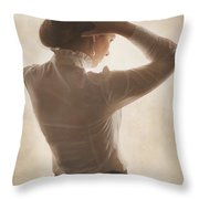 Edwardian Woman Styling Her Hair Throw Pillow