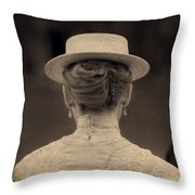 Edwardian Woman With Straw Boater Rear View Throw Pillow
