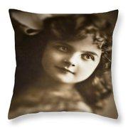Edwardian Young Girl Throw Pillow by Jan Bickerton