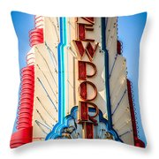 Edwards Big Newport Theatre Sign In Newport Beach Throw Pillow