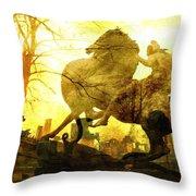 Eerie Horseman Throw Pillow