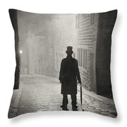 Eerie Victorian Man Standing On A Foggy Cobbled Street At