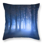 Eerie Woodland Scene At Nigh Time In Fog Throw Pillow