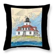Egg Rock Lighthouse Me Nautical Chart Map Art Throw Pillow