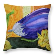 Eggplant And Alstroemeria Throw Pillow