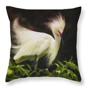 Egret 12 Throw Pillow