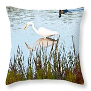 Egret And Coot In Autumn Throw Pillow
