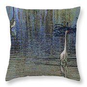 Egret And Heron Watching Throw Pillow