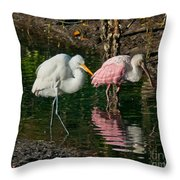 Egret And Pink Spoonbill Throw Pillow