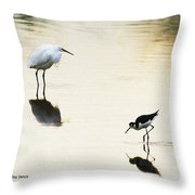 Egret And Stilt At The Grp Throw Pillow
