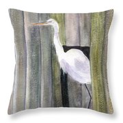 Egret At John's Pass Throw Pillow