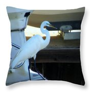 Egret At The Lake Throw Pillow