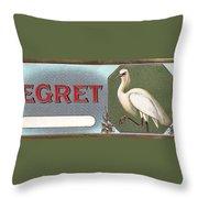 Egret Cigar Label Throw Pillow