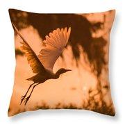Egret Flying Throw Pillow