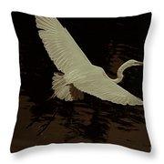 Egret Fractalius Throw Pillow