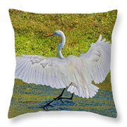 Egret Full Wing Span Throw Pillow