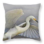 Egret Grace At The Beach Throw Pillow
