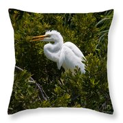 Egret In Bushes Throw Pillow