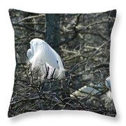 Egret In Full Display Lake Martin Louisiana Throw Pillow