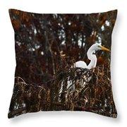 Egret In Hiding Throw Pillow