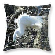 Egret In Lake Martin Swamp Louisiana Throw Pillow