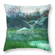 Egret In Retreat Throw Pillow