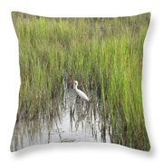 Egret In The Marsh Throw Pillow