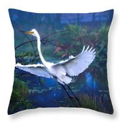 Egret In The Mist Throw Pillow