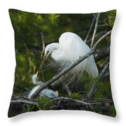 Louisiana Egret With Babies In Swamp Throw Pillow