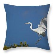 Egret Landing Throw Pillow