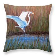Egret Landing Throw Pillow