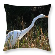 Egret On The Move Throw Pillow