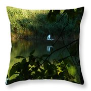 Egret Over The East River Throw Pillow
