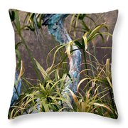 Egret Statue Throw Pillow