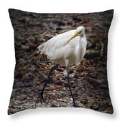 Egret Strut Throw Pillow