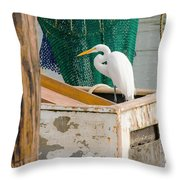 Egret With Fishing Net Throw Pillow