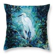Egret Throw Pillow