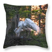 Egrets At Nest Throw Pillow