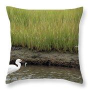 Egret's Catch Throw Pillow